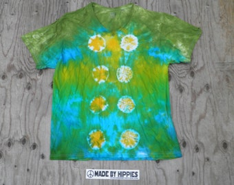 Pressure Points Tie Dye T-Shirt (V-Neck)  (Fruit of the Loom Size XL) (One of a Kind)
