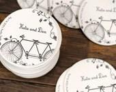 Wedding Letterpress Coasters - Tandem Bike - Custom Favor Save the Date Decoration Bar Accessory Invitation