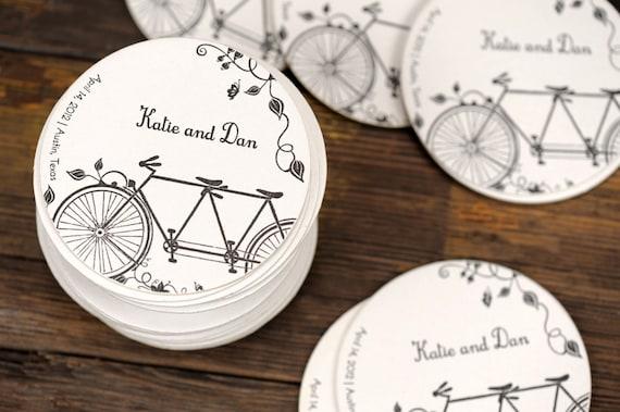 Tandem Bike Wedding Invitations: Wedding Letterpress Coasters Tandem Bike Custom Favor Save