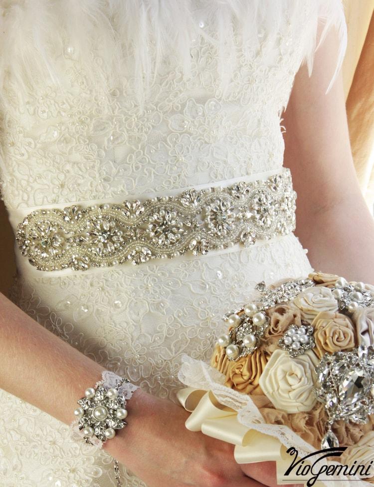 Bridal sash 24 rhinestones and crystals sash wedding by ...