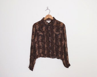 Vintage 90s Brown Snake Skin Print Shirt Snake Print Blouse Animal Print Top Sheer Shirt Crop Shirt Crop Top 90s Shirt 90s Grunge Shirt S M