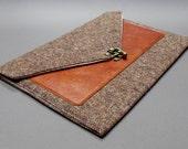iPad Pro / iPad / iPad Air case with leather pocket - brown tweed