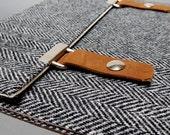 iPad case - gray herringbone