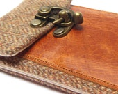 Smartphone wallet - brown herringbone tweed