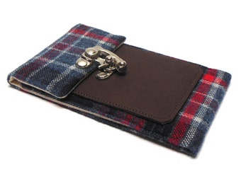 Smartphone wallet - blue and red plaid - any size