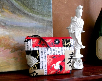 Fan and Crane Make Up Pouch / Wristlet / Cell Phone Bag / Organizer