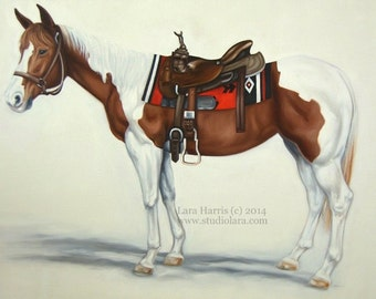 Custom Horse Painting in Oil by Lara Harris 36x48 (3 ft by 4ft)  FREE SHIPPING xl Extra Large Made in USA