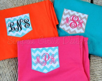 Youth size chevron faux pocket t-shirt. Monogrammed. You choose colors. XS to L. Other sizes, including children's, available.
