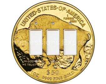 Gold Bullion Coin Triple Decora Rocker Switch Plate Cover