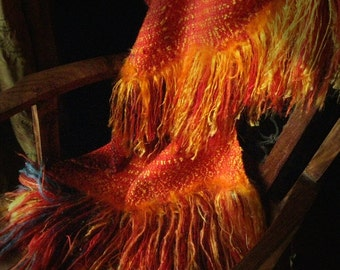 Custom order for Taisha Orange Blaze Fire shawl handwoven all seasons wrap