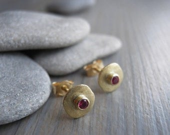 July birthstone, Round 18k yellow gold Earrings, Small gold Stud Earrings, Ruby Post Earrings, Every Day gold studs, Graduation gift