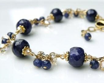 Natural Sapphire Bracelet, 14k Gold Filled, Navy Blue Stone, Chain and Link Gemstone September Birthstone Birthday Gift, Wedding Jewelry