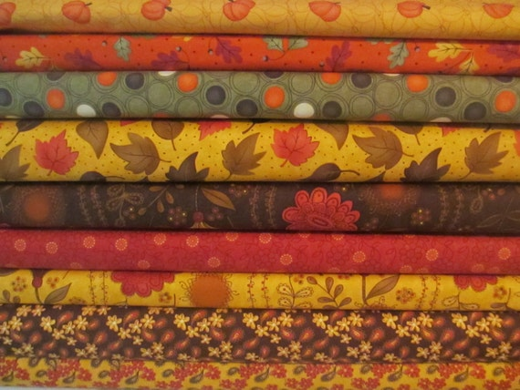 Fall Autumn Fat Quarter Fabric Bundle Sandy Gervais Moda
