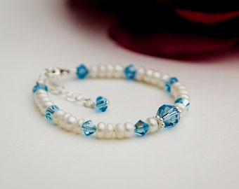 Birthstone color swarovski and freshwater pearl newborn toddler baby girl bacelet