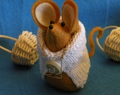 Felt Mouse in White Sweater with Glasses and Big Button  soft sculpture  decoration