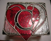 Stained Glass Custom Hand Made Heart Jewelry Box With Initial
