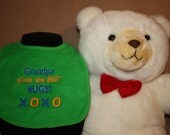 Embroidered Bib for Baby-GRANDPA Gives Best Hugs-Green