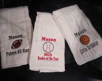 Baby Boy's Embroidered Personalized Burp Cloth Set of 3- Sports
