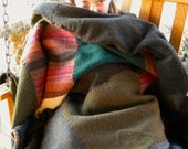 Greens and Browns Earth Toned Felted Sweater Blanket or Throw - Cashmere, Lambswool, Merino