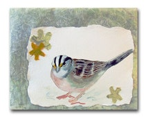 ON SALE! Sparrow Watercolor Collage 8x10 Fine Art Mixed Media in Frame Spring Songbird Small Format Art Contemporary Bird ready to ship