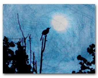 Bird and Moon Photograph Surreal 8x10 Fine Art Photo Silhouette Nature Trees Mystical Bird vintage look ethereal dreamy modern wall decor