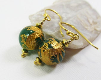 Green Onyx Gemstone . Vermeil Dangle Drop Earrings . Emerald Green with Gold Carved Dragon . E14005