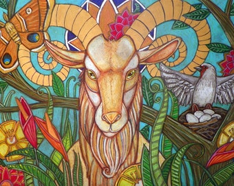 Stylized Goat / Ram / Moth / Bird / Animal Art Print by Lynnette Shelley