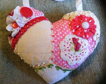 Small Vintage Red Heart Crazy Quilt Pillow