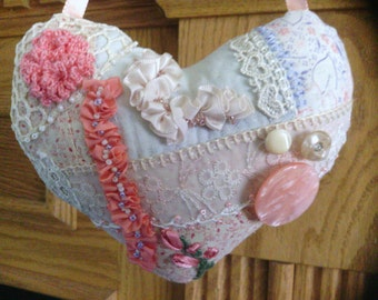 Small Peachy Coral Heart Crazy Quilt Pillow