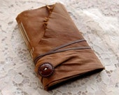 Field Notes - Soft Brown Leather Journal, Hand Bound, Tea Stained Pages, Vintage Button, OOAK - bibliographica