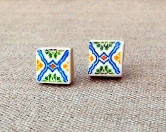 Portugal Lisbon Pasteis de Belem Facade Antique Tile Replica 1837 POST STUD Earrings - Gift Box Included