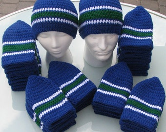 Canucks Colors Handmade Crocheted Skullcap Beanie Navy Green White Game Day Gear Warm Soft Comfy Head Gear