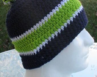 Seattle Seahawks Crocheted Skull Cap Beanie Game Day Gear Handmade Navy Green White PopPom Warm Winter Superbowl Head Gear