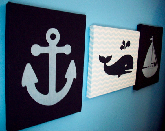 Nautical nursery wall decor anchor whale sailboat navy fabric for Nautical nursery fabric
