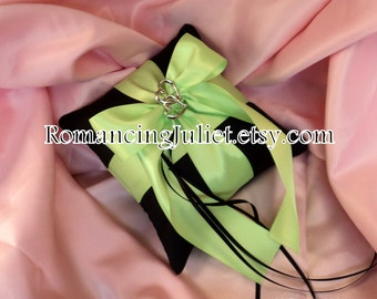 Romantic Satin Mini Ring Bearer Pillow with Two Hearts Accent...You Choose the Colors...BOGO Half Off... shown in black/chartreuse green