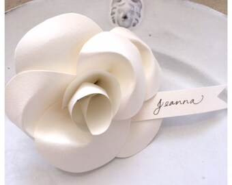 Handmade Paper Flower Escort Favors/Cards - Quality French Paper Camellia Flower