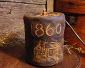 1860 Log Cabin Scented Beeswax Candle, Blackened Beeswax, Rustic Cabin Decor, Primitive Decor, Rustic Candle, Primitive Candle Grubby Candle