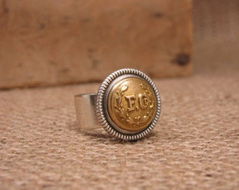 "Button Jewelry - Never Forget - September 11 - RARE Authentic Fireman Uniform ""F. Co."" FD Brass Cuff Button Ring - Remembering 911"