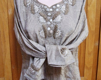 India Dress, Embroidered dress, Long sleeve Tan dress with mirrors  size M / L