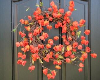 Autumn Wreaths - Orange Chinese Lanterns - Mini Pumpkins - Raffia Decor - Autumn Leaves - Berry Wreath