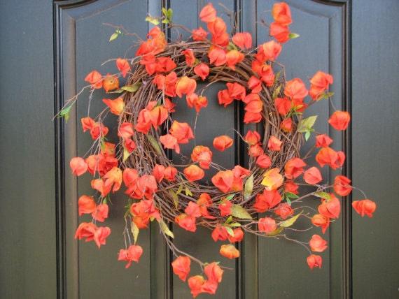 Items similar to Autumn Wreaths - Orange Chinese Lanterns ...