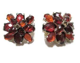Rhinestone Earrings Amber Vintage Tiered Faceted Orange Burnt Red for Dress Clips, Autumn Ovals Teardrops Rhinestones Clip On Womens Gift