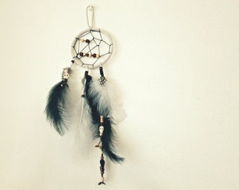 White Dream Catcher with Mixed Feathers, Charms and Beads