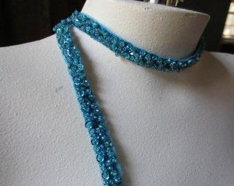 "Beaded Trim 18""  in Aquamarine for Headbands, Bridal, Crafting"