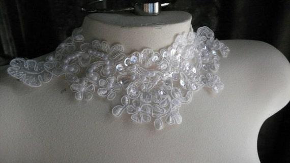 WHITE Beaded Lace Applique for Lyrical Dance, Bridal, Headbands, Costume Design WA 751