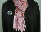 Women's Scarf, Handwoven Recycled Sari Silk, Uruguayan Wool, Lavender
