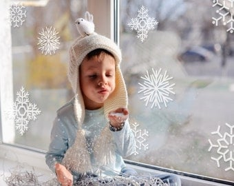 Snowflake Holiday Collection Vinyl Wall Decals- 12 Snowflake Wall Graphics, Wallpaper, Stickers, Christmas, item 60001