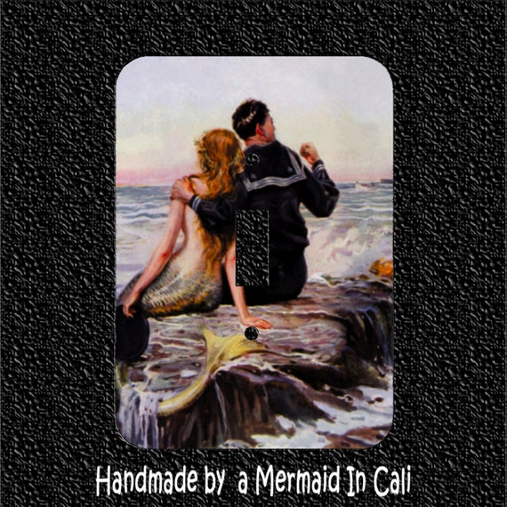 Navy Sailor and Mermaid Light Switch Plate Covers- Toggle Rocker Outlet