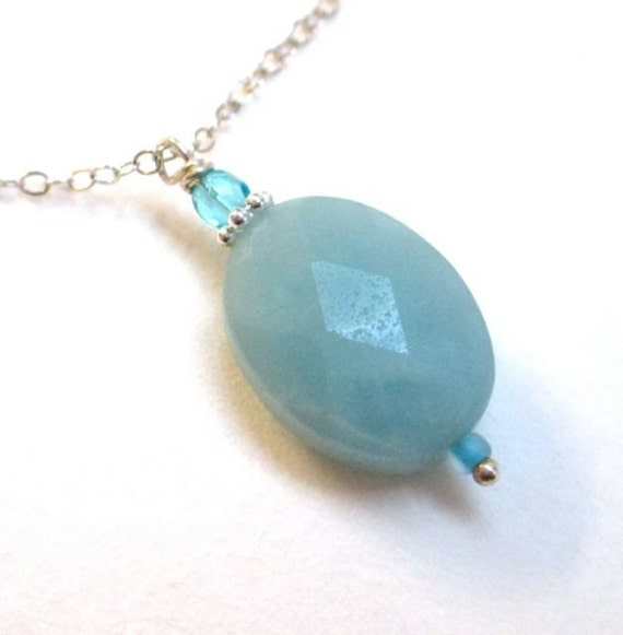 Amazon Heart, faceted amazonite lozenge on sterling, necklace