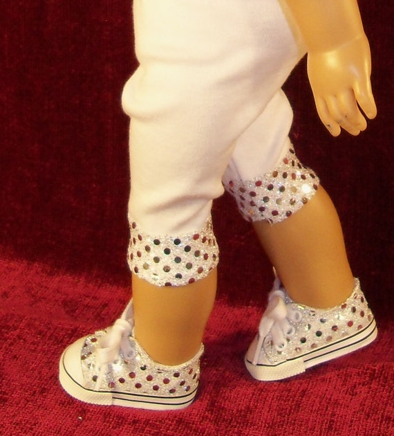 American Girl Doll Capri Leggings with Matching Sequin Tennis Shoes
